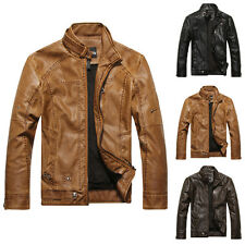 Mens Cowboy Winter PU Leather Trench Parka Coat Motorcycle Jacket Tops Outerwear