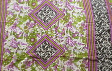 Indian Cotton Muslin Fabric Black White Purple Leaf Print