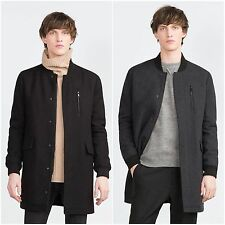 ZARA Man BNWT Black  Or Dark Grey Wool Long Bomber Jacket Coat L 4391/450