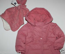 baby Gap NWT Girl's 0 3 6 12 18 Mo. Pink Warmest Puffer Coat + Hat & Mittens