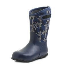 Boys Kids Bogs Durham Camo Dark Blue Multi Wellies Wellington Boots Shu Size