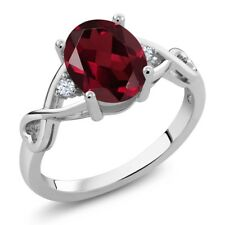 2.09 Ct Oval Red Rhodolite Garnet 14K White Gold Ring
