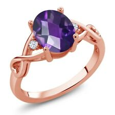 1.59 Ct Oval Checkerboard Purple Amethyst 18K Rose Gold Ring