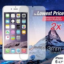 """2Pcs Premium Real Tempered Glass Film Guard Screen Protector for iPhone 6 4.7""""~Q"""