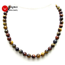 SALE 8mm Round Multicolor High Quality natural tiger's-eye 17'' Necklace - n6017