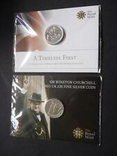 2013 & 2015 FINE SILVER £20 COINS ROYAL MINT TIMELESS FIRST & WINSTON CHURCHILL.