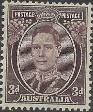 Australia 1941 3d Brown KGVI Unhinged Mint, SG 187