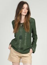 Monoreno Green Embroidered Cotton Thermal Boho Hippie Top