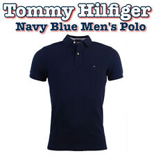 TOMMY HILFIGER Men's Navy Blue, 100% Cotton, Polo T-Shirt - MEDIUM or LARGE