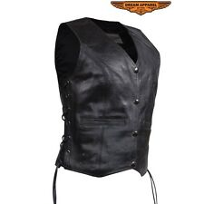 "Womens Black Leather Classic Style Vest Size XS-4XL ""Great Deal"""