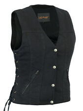 Women's Single Back Panel Concealed Carry Denim Vest Great Deal