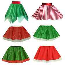 GIRLS Christmas SKIRT Tree ELF Decoration Santa Claus Dance Wear/ Fancy Dress UK