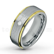 0.07ct Solitaire Birthstone Wedding Band, Two-Tone Tungsten Carbide Ring TS1322