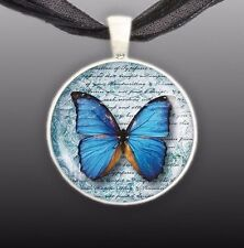 "Blue Butterfly Romantic Style Artwork Print 1"" Pendant Necklace in Silver Tone"