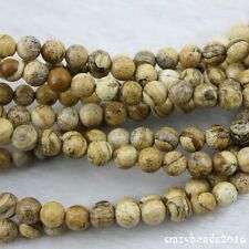 """4-10mm Picture Jasper DIY Spacer Round Gemstone Beads for Jewelry Making 15"""""""