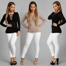 Sexy Women Blouse V Neck Slim Bandage Lace Up T-Shirt Long Sleeve Casual Top