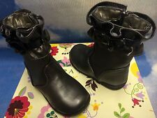 Laura Ashley Girls Pewter First Step Fashion Zipper Boots Toddler Size 5 to 7