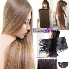 sexy women one piece full head human hair  one piece 5 clips hair extension 150G