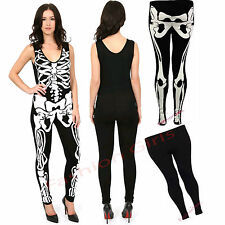 Women Ladies Sleeveless Bodycon Halloween Skeleton Skull Bone Print Jumpsuit