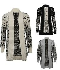 WOMENS LADIES OWL CROSS  SNOWFLAKE PATTERN WINTER JUMPER OPEN KNITTED CARDIGAN