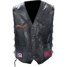 Man's Diamond Plate™ Genuine Buffalo Leather Biker Vest - NEW
