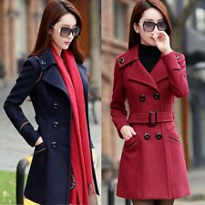 Lady Double Breasted Wool Blend Trench Coat Long Sleeve Warm Jacket Overcoat