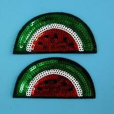 2 Watermelon Sequin Iron on Sew Patch Beauty Embroidery Applique Badge Fruit Lot