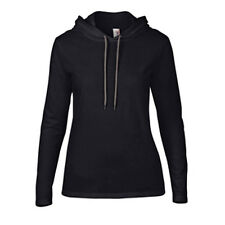 Women's Lightweight Long Sleeve Hooded T-Shirt Anvil Ladies Hoodie Black