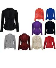 NEW WOMENS LADIES LONG SLEEVE SLIM FIT FRILL PEPLUM BLAZER JACKET PLUS SIZE 8-26