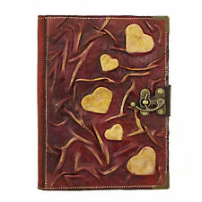 Heart Purple Large Handmade Leather Journal Diary Sketchbook Notebook