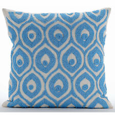 "Dream Palace - Blue Art Silk Pillow Covers 18""x18"""