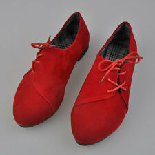 Fashion Women Artificial Nubuck Leather lace-Up Flat Shoes Pointed Toe Shoes AU