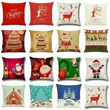 New Christmas Deer Cotton Linen Cushion Cover Pillow Case Square Home Decor Gift