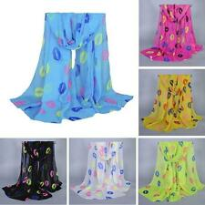 Winter Women Long Style Wrap Lady Shawl Chiffon Scarf Scarves Stole Lip Printed