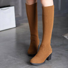 Vintage Womens Knitting Sweater Cuffed Knee High Boots Shoes Leisure Plus Size