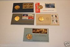 1972-1976 COMPLETE 5-PIECE BICENTENNIAL FIRST DAY COVER SET OF MEDALS & STAMPS