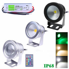 10W LED Underwater Spot Light RGB Cool Warm Garden Pond Lamp Waterproof Lighting