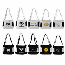 Casual Style Canvas Shopping Bag Black White Color with Funny Pattern Handbag IB