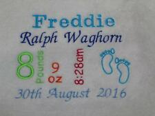 PERSONALISED BABY BLANKET BIRTH DETAILS EMBROIDERED NEWBORN CHRISTENING GIFT