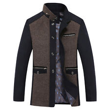Business Mens Slim Fit Stiching Stand Collar Single-breasted Mixed Color Coat Q1