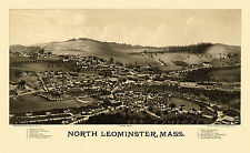 Map North Leominster Massachusetts 1887 Worcester Cnty 18x24 24x36 36x54 Poster