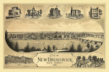Map New Brunswick New Jersey 1880 Middlesex County 18x24 24x36 36x54 Poster