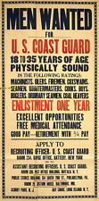 WWI Poster Men Wanted For U.S. Coast Guard 18x24 24x36 NEW