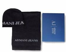 Armani Jeans Mens Grey Scarf and Hat Set with Gift Packaging