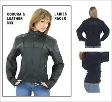 Womens Textile and Leather Racer Jacket Size S-4XL New Great Deal