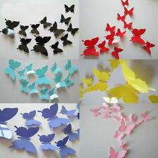 12pcs/Set 3D Butterfly Wall Sticker Butterflies Docors Art DIY Decoration Paper