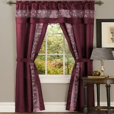 NEW 5 pc Window Curtains Panels Drapes Pair Valance Set 84 63 Sheer Burgundy Red