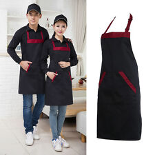 Solid Unisex Apron with 2 Pockets Chef Waiter Kitchen Restaurant Cooking Aprons