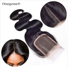 """Premium Quality Indian Remy Human Hair 4""""x4"""" Silk Top Lace Closure Free Shipping"""