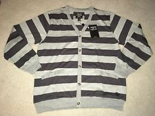 CROOKS & CASTLES BIG STRIPE KNIT CARDIGAN GREY LARGE L supreme palace